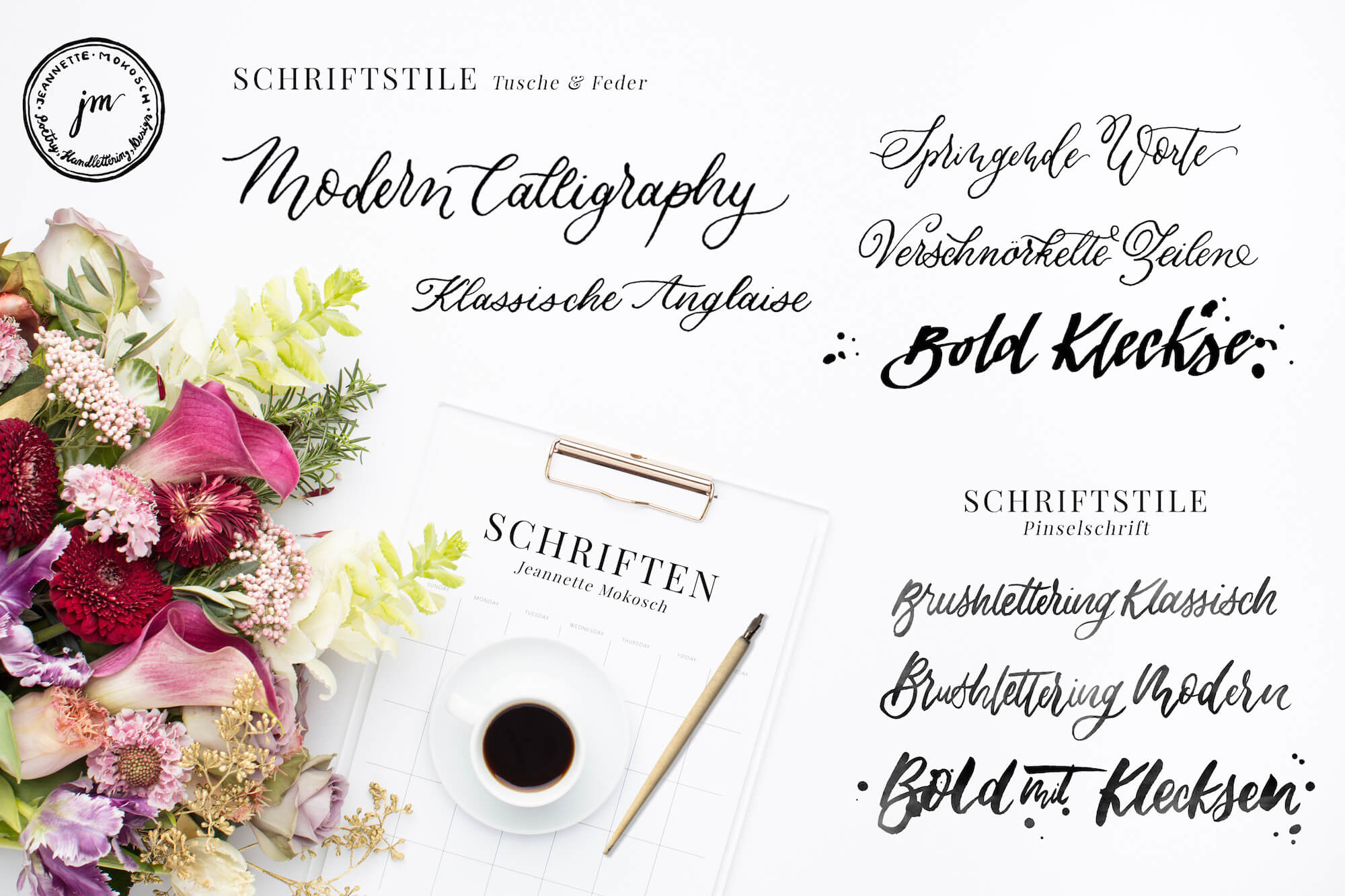 Pinselschrift Anglaise Copperplate Kalligraphie