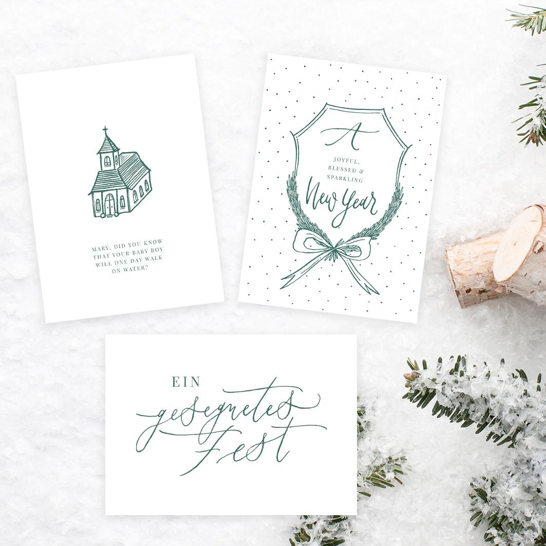 Kalligrafie Weihnachtskarten emerald grün