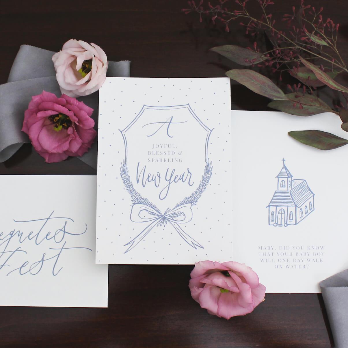 Kalligrafie Handlettering Weihnachtskarte
