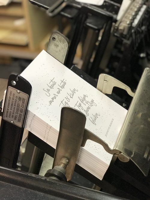 Letterpress Druck auf der Heidelberger Tiegel