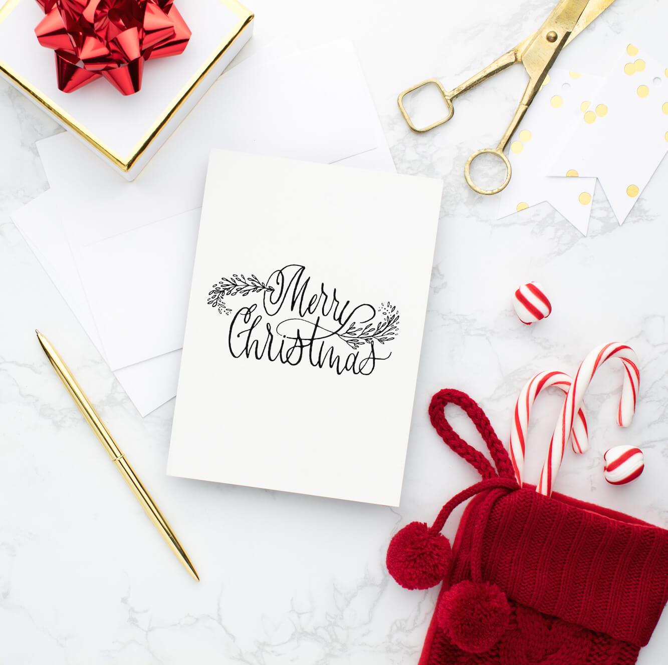 Merry Christmas Card Kalligraphie Karte Weihnachten Grußkarte