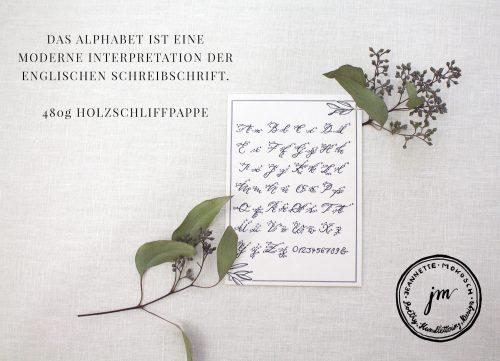 Kalligraphie Alphabet Karte ABC Handlettering