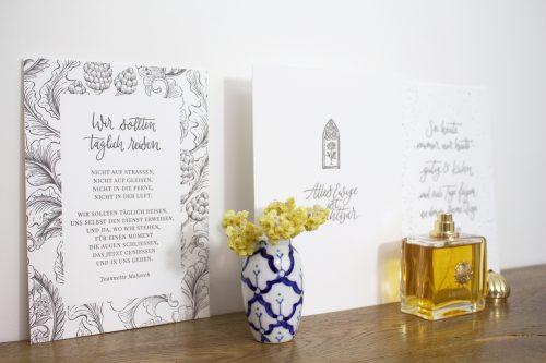 Fine Art Luxus Letterpress Kunstdruck Kalligrafie