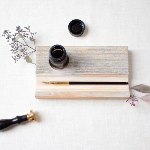 Kalligrafie Federablage aus Holz grau / Calligraphy / Füller / Hand Lettering
