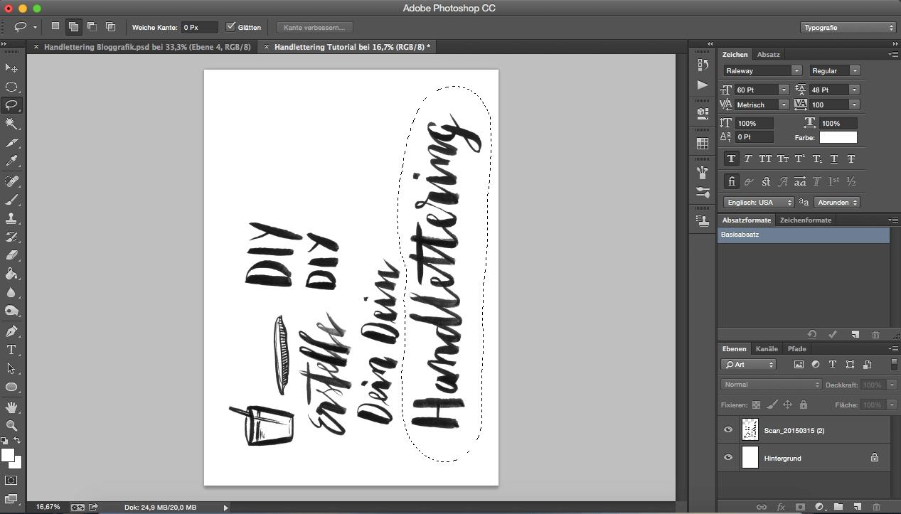 Lasso Werkzeug Photoshop Schrift freistellen digitalisieren