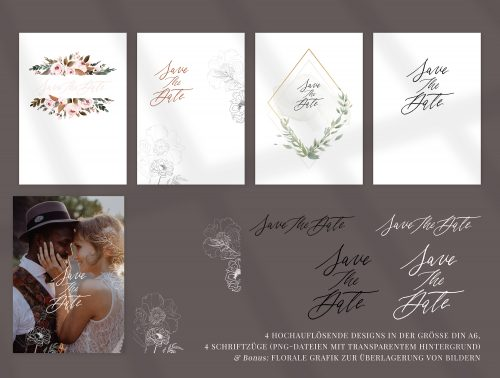 Save The Date Karte Einladung Hochzeit DIY drucken Download Vorlage Idee rostrot Illustrationen floral Fine Art Peonie Blumen Bild Foto Photo Fotografie Kalligrafie Kalligraphie