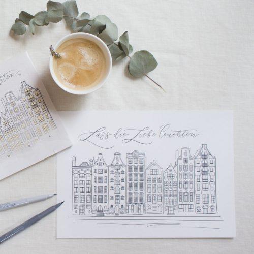 Holland Weihnachtskalender Schokolade Hand Lettering Brush Lettering Calligraphy Kalligrafie Kalligraphie Amsterdam Häuser Lichter Leuchten Spruch Dekoration