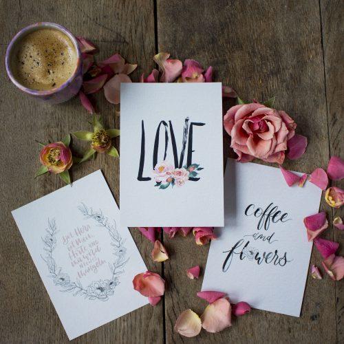 Brush Lettering Hand Lettering Karten Set Postkarten Inspiration Black Schwarz Illustration Watercolor Blumen Moderne Kalligrafie Kalligraphie
