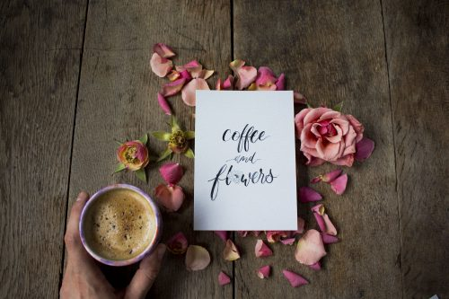 Kaffee Blumen Brush Lettering Hand Lettering Karten Set Postkarten Inspiration Black Schwarz Illustration Watercolor Blumen Moderne Kalligrafie Kalligraphie