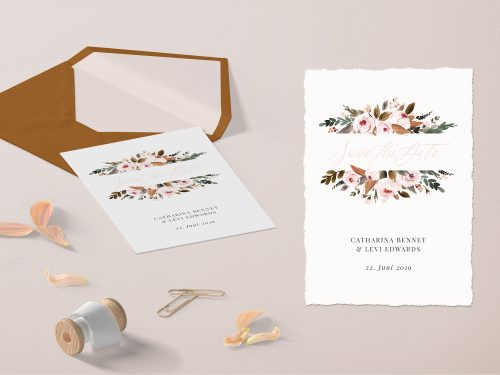 Kalligrafie Kalligraphie Vintage romantisch rosa blush edel Luxus Save The Date Karte Einladung Hochzeit DIY drucken Download Vorlage Idee rostrot Illustrationen floral Fine Art Peonie Blumen