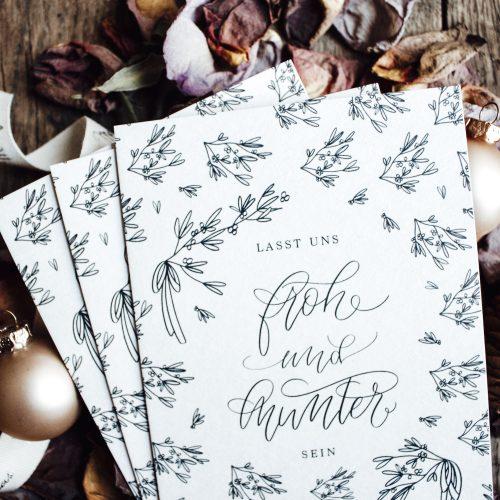 Weihnachtskarten Weihnachtskarte Karte Grußkarte Postkarte Gold Goldfolie Golddruck Kranz Zweige Kalligrafie Kalligraphie Weihnachten Advent