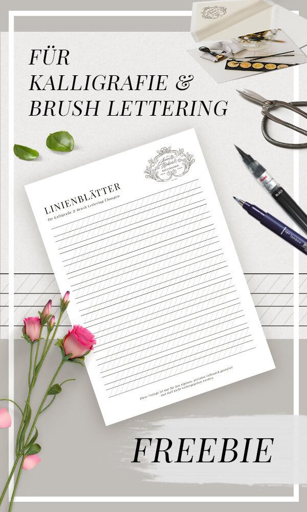 Moderne Kalligrafie Übungsblätter PDF Handlettering Vorlagen kostenlos zum ausdrucken Alphabet modern Brush Lettering Brush Pen Brushpen