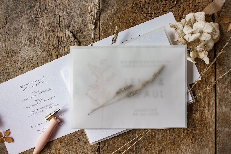 Hochzeitseinladung Einladung Hochzeit heiraten florale Illustration Ranken Blüten Rosen Kalligrafie Kalligraphie natürlich DIY Karten selbst gestalten machen Gräser Farn