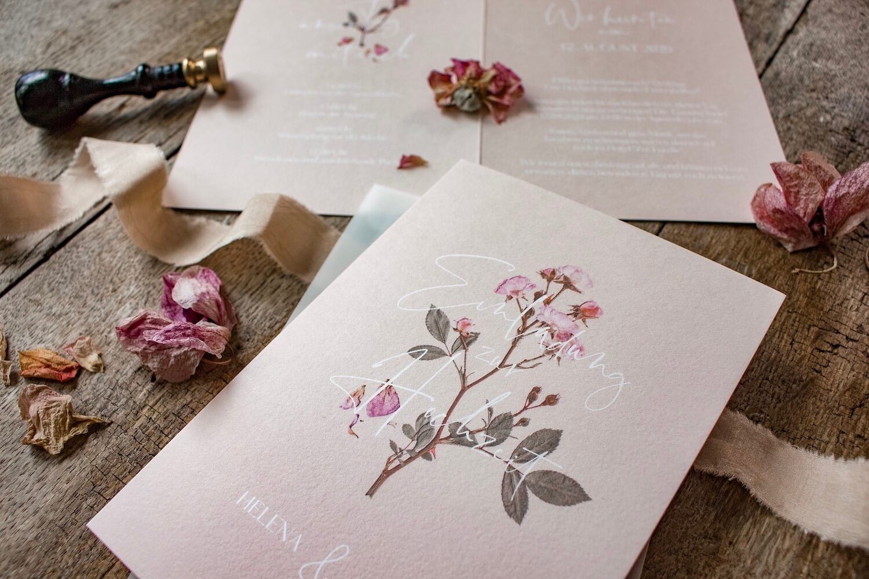 Hochzeitseinladung Einladung Hochzeit heiraten florale Illustration Ranken Blüten Rosen Kalligrafie Kalligraphie natürlich DIY Karten selbst gestalten machen rosa blush rosé