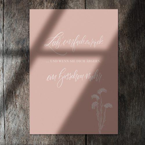 Liebe Freundschaft Spruch Kunstdruck Druck floral Trockenblumen getrocknete Blüten Dekoration Herbst blush rosa nude