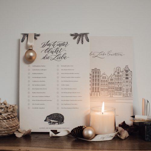 Kalligrafie Kalligraphie Adventskalender Print To-Do Liste Kunstdruck Familie Kinder Geschenk Dekoration