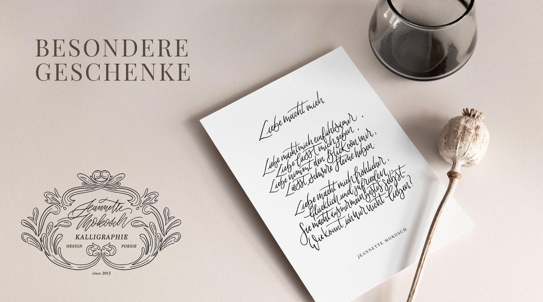 Besondere Geschenke Kalligrafie Kalligraphie Hand Lettering