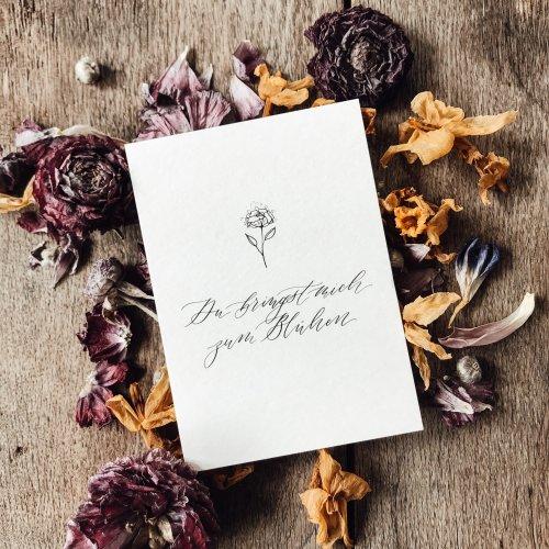 Florale Postkarte Karte Trockenblumen Kalligrafie Kalligraphie Hand Lettering Corona Wertschätzung Geschenk