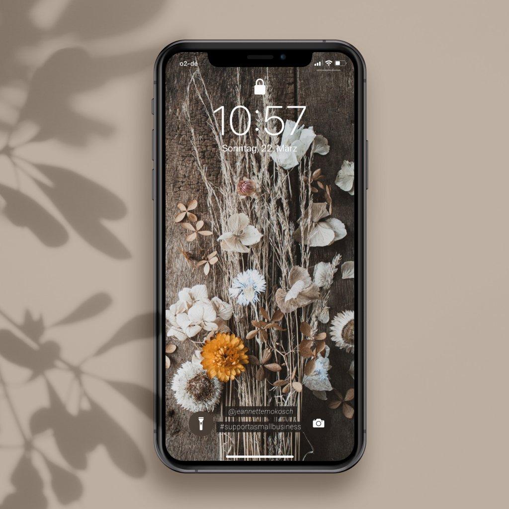 Trockenblumen Kalligrafie Wallpaper kostenlos Bildschirmschoner Handy