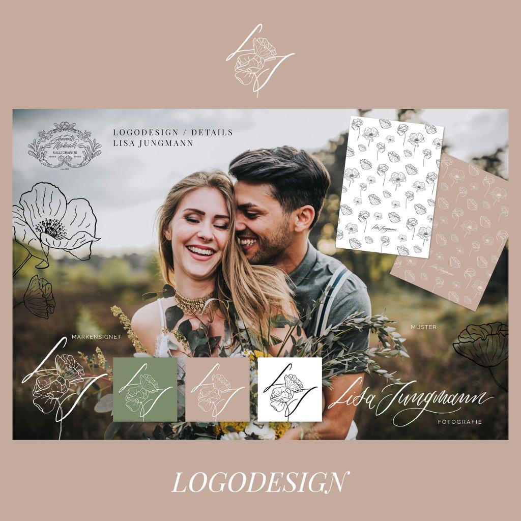 Logo Logodesign Kalligrafie Kalligraphie Handlettering Lettering Handschrift Feder Moodboard Muster Pattern floral Mohn